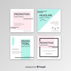 Set de banners cuadrados promocionales vector gratuito Web Design, Layout Design, Graphic Design Brochure, Branding Design, Banner Design Inspiration, Keynote Design, Logos Retro, Leaflet Design, Creative Poster Design
