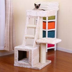 $83 Pet Pals Cat Playhouse w/Ladder PP1573 - PetSmart