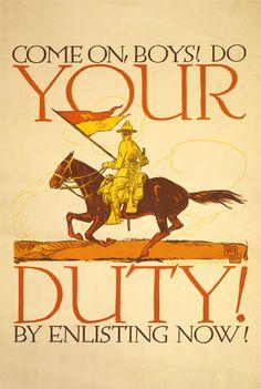 WWI Poster : US Army : Your Duty To Enlist : WW1 Propaganda World War I