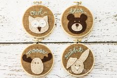 Woodland Animals Hoop Art - Felt and Embroidery - Brown and Turquoise