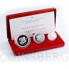 Australia, Set of 3 coins, Year of the Pig, Lunar, Silver Proof 2007