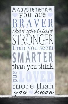 Always Remember You Are Braver Than You Believe Painted Wooden Subway Art Sign, Perfect for Your Little Girls Room by AmberMooreDesigns on Etsy