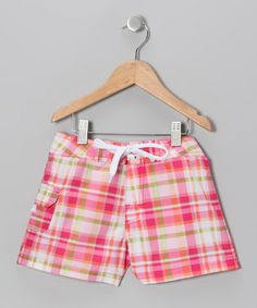 Pink Plaid Boardshorts - Girls
