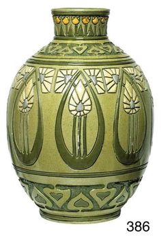 Exceptional Rozane Della Robbia vase, wonderful form with an incised design in six colors, finely and beautifully executed, signed, minor chip repairs from Treadway Gallery Roseville Pottery, Ceramic Pottery, Pottery Art, Ceramic Art, Vases, Art Nouveau, Art Deco, Pottery Designs, Pottery Ideas