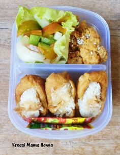 Healthy Lunch Box - Salad, Chicken Karage and soy sauce deep fried tofu pouch with rice and katsuboshi