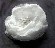 White Flower Bridal Alligator Clip. Silk Flower for by flowershair, $37.00