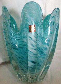 Vintage Art, Jelly, Glass Art, Light Blue, Auction, Art Deco, Vase, Japanese, Retro