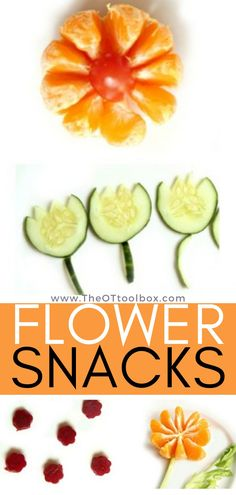 These flower snacks are fun and super easy to create with kids and build fine motor skills in the kitchen. If you are looking for creating ways to add healthy snacks into a child's diet, these flower themed snacks are just that. Add these cooking with kids activities to your Spring occupational therapy toolbox. Kids Cooking Recipes, Cooking With Kids, Kids Meals, Family Meals, Crockpot Recipes, Healthy Snacks For Kids, Healthy Treats, Therapy Activities, Activities For Kids