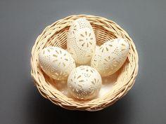 Kraslice husacie vŕtané, madeira, handmade