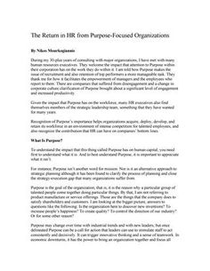 "#ΝίκοςΜουρκογιάννης: Άρθρο ""The return in HR from purpose focused organizations"""