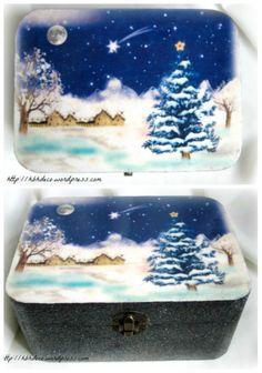 Winter tale handmade decoupage box