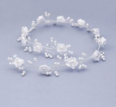 Bridal Headpiece Headdress Pearl white flower by FloralHeadpiece