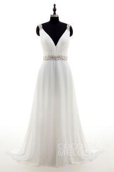 Unique Sheath-Column V-Neck Natural Court Train Chiffon Ivory Sleeveless Open Back Wedding Dress Sashes Pleating LD4048