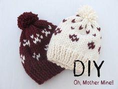 ▶ DIY Como hacer gorros de lana con dos agujas - YouTube