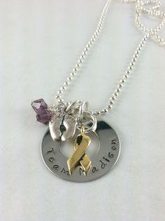 Cancer awareness team hand stamped necklace