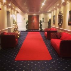 The red carpet ready for our winter wedding bridal procession!