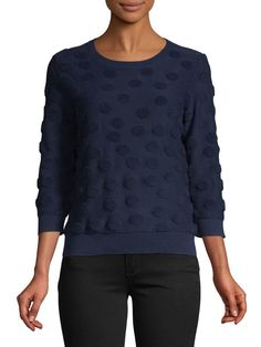Polka Dot French Terry Top Lord & Taylor, Quarter Sleeve, French Terry, Polka Dots, Graphic Sweatshirt, Pullover, Sweatshirts, Long Sleeve, Sleeves