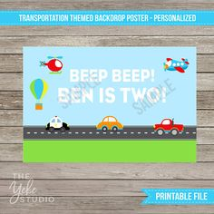 Planes, trains and automobiles! Do you have a little one who loves seeing things go vroom vroom? This printable poster will make the perfect backdrop for your birthday party. Just order, wait for your email, and print! You will receive a jpeg and pdf file via email, sized 72x48 inches