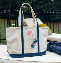 Monogrammed Large Boat Tote Erin Green, Personalized Graduation Gifts, Red Carnation, Masculine Style, Trim Color, Travel Tote, Monogram Letters, Lower Case Letters, Electric Blue