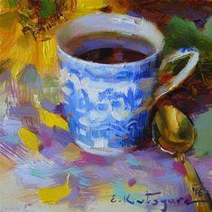 "Daily Paintworks - ""Sunflower and Blue Cup"" - Original Fine Art for Sale - © Elena Katsyura Tea Cup Art, Blue Cups, Fine Art Gallery, Painting Inspiration, Art For Sale, Still Life, Photo Art, Floral, Artist"