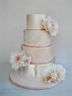 Blush and silver #wedding #cake with lace and floral details ~ Sweet Disposition Cakes #pinkweddingcakes