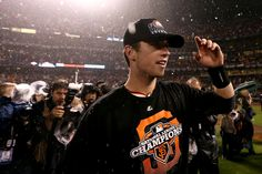 Buster Posey after winning the NLCS