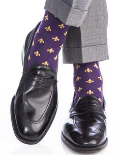 Purple and Yolk Fleur De Lis Merino Wool Linked Toe Over-The-Calf