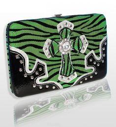 Lime Green Zebra Western Style Cross Wallet with Rhinestones - Handbags, Bling & More!