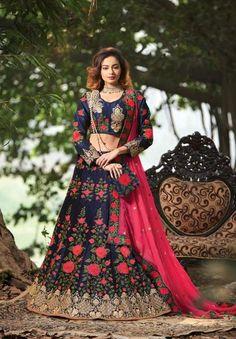 Women's Raw Silk Fabric Blue Pretty Circular Lehenga Choli