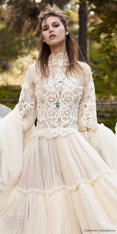 christos costarellos spring 2018 bridal long sleeves hgh neck heavily embellished bodice bohemian romantic modest a line wedding dress (45) zv -- Costarellos Spring 2018 Wedding Dresses