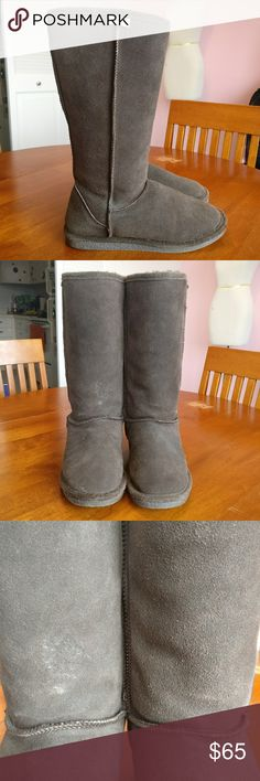 """BearPaw Genuine Sheep Skin Brown Tall Boots BearPaw  Brown, talk winter boots.  Very similar style to tall Uggs.  Genuine sheep skin lining (very thick and soft.) Suede outside.  Brown color.  Size 8.  Gently used, good condition. A couple of minor marks.  Height: 13.5"""" from back of heel to top. BearPaw Shoes Winter & Rain Boots"""