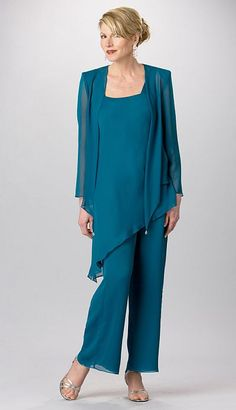I like the angled top, draws the eye down instead of straight across. Ursula Formal Chiffon Pant Suit 11882