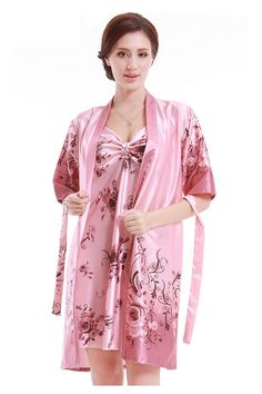35c90958d1 Amazon.com  Olivery 2pc Womens Faux Silk Sleepwear with Top   Crop Pants Gorgeous  Floral Nightgown Bath Pajamas Set  Clothing