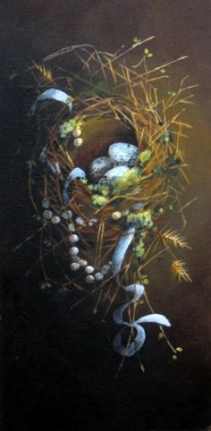 """""""THE MAGPIE'S PEARLS"""" original  painting  bird art ooak FREE usa shipping. , via Etsy. SOLD"""