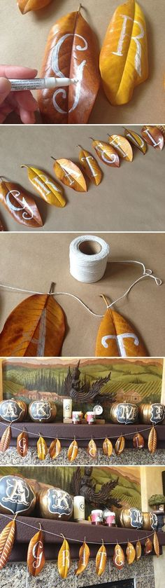 When looking for amazing, custom Fall decor for Thanksgiving why not DIY! Community: 16 Awesome DIY Projects You Can Make With Fall Foliage Fall Crafts, Holiday Crafts, Holiday Fun, Leaf Crafts, Festive, Decor Crafts, Party Girlande, Autumn Leaves Craft, Fall Leaves