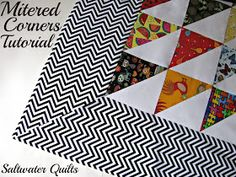 BORDERS Saltwater Quilts: Tutorial: Quilt Border with Mitered Corners - this has perfect step-by-step instructions that are easy to understand with great diagrams. Quilting Tips, Quilting Tutorials, Quilting Projects, Quilting Designs, Sewing Tutorials, Sewing Projects, Sewing Tips, Sewing Ideas, Beginner Quilting