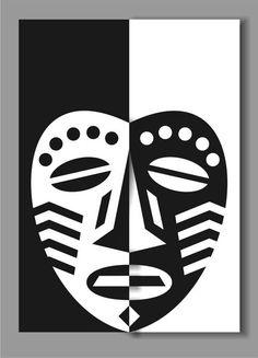 African Mask Design Lesson - Decorating the Face 2 Notan Art, Kids Art Galleries, African Art Projects, Mouth Mask Design, Cute Doodle Art, Composition Art, Positive Art, Shadow Art, Art Lessons Elementary