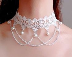 White lace Pearl beaded choker necklace - chains charmed beaded - vintage wedding bridal necklace gothic victorian / jewelry gift for her