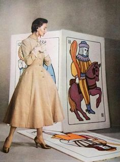 Harper's Bazaar, August 1953, featuring over-sized tarot cards. Photos by Louise Dahl-Wolfe.