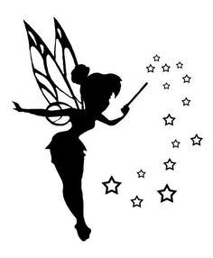 Clip art silhouette pictures of Tinkerbell to be used to create either stencils or decals Tattoo Tinkerbell, Tinkerbell Disney, Fairies Tattoo, Disney Fairies, Hades Disney, Disney Tattoos, Machine Silhouette Portrait, Tinker Bell Tattoo, Disney Princess Silhouette