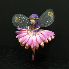 uniquefairyboutique lemon and pink miniature fairy gift for