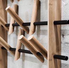 "design dunker on Instagram: ""Coat rack by @wedowood #coats #coat #coatrack #wedowood #woodwork #fashion #fashiondesign #productdesign #interior #hallway #designinspo…"" Woodworking Bar Clamps, Woodworking Square, Woodworking Tools List, Woodworking Shop Layout, Woodworking For Kids, Woodworking Supplies, Woodworking Furniture, Woodworking Projects, Woodworking Videos"