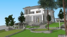 House on a slope - Warehouse 3d Warehouse, Villa, Sketch, Photoshop, Sculpture, Mansions, House Styles, Kitchen, Model