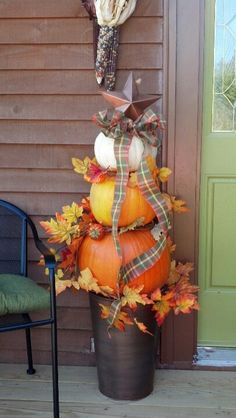 Fall Topiaries, Pumpkin Topiary, Topiary Trees, Thanksgiving Decorations, Fall Decorations, Seasonal Decor, Fall Harvest, Harvest Party, Autumn Fall