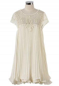 Beads Embellished Pleated Dolly Dress in Cream