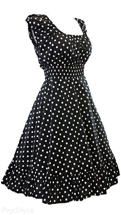 Sidecca Retro 1950s Polka Dot Smock Swing Dress