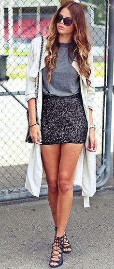 Josefin Ekstrom Black Sequin Skirt Fall Street Style Inspo #Fashionistas