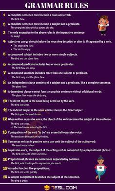 English Grammar Rules, Teaching English Grammar, English Vocabulary Words, Grammar Lessons, Learn English Words, English Language Learning, Grammar And Punctuation, Grammar Help, Grammar Skills