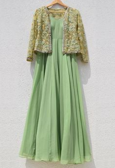 Sage Green Anarkali With Sage Green Embroidered Jacket With Mirror WorkYou can find Designer anarkali and more on our website.Sage Green Anarkali With Sage Green Embroi. Indian Gowns Dresses, Indian Fashion Dresses, Indian Designer Outfits, Pakistani Dresses, Indian Outfits, Kurta Designs, Kurti Designs Party Wear, Latest Anarkali Designs, Lehenga Designs