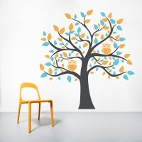 Bright Owl Tree Wall Decal http://www.wallums.com/wall-decals/nursery-kids-room-wall-decals-stickers-graphics/
